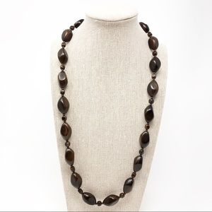 Vintage Brown Beaded Necklace, 25.5""